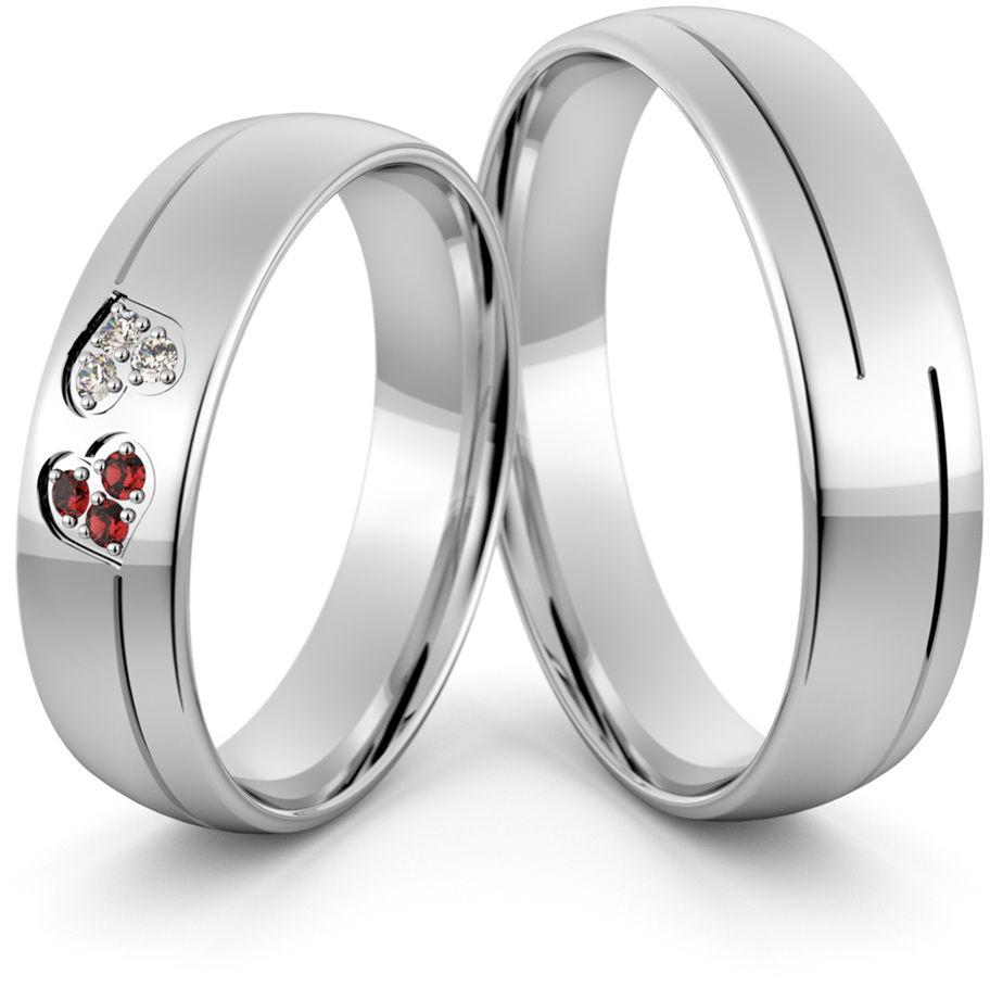 Obrączki srebrne z sercami cyrkoniami i rubinami - wzór Ag-426