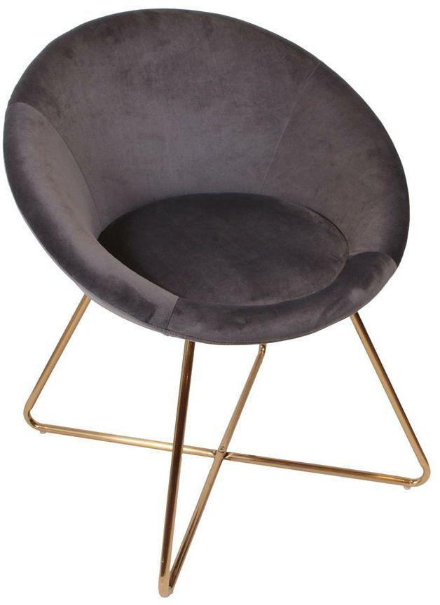 Welurowy fotel okrągły szary - Mykos