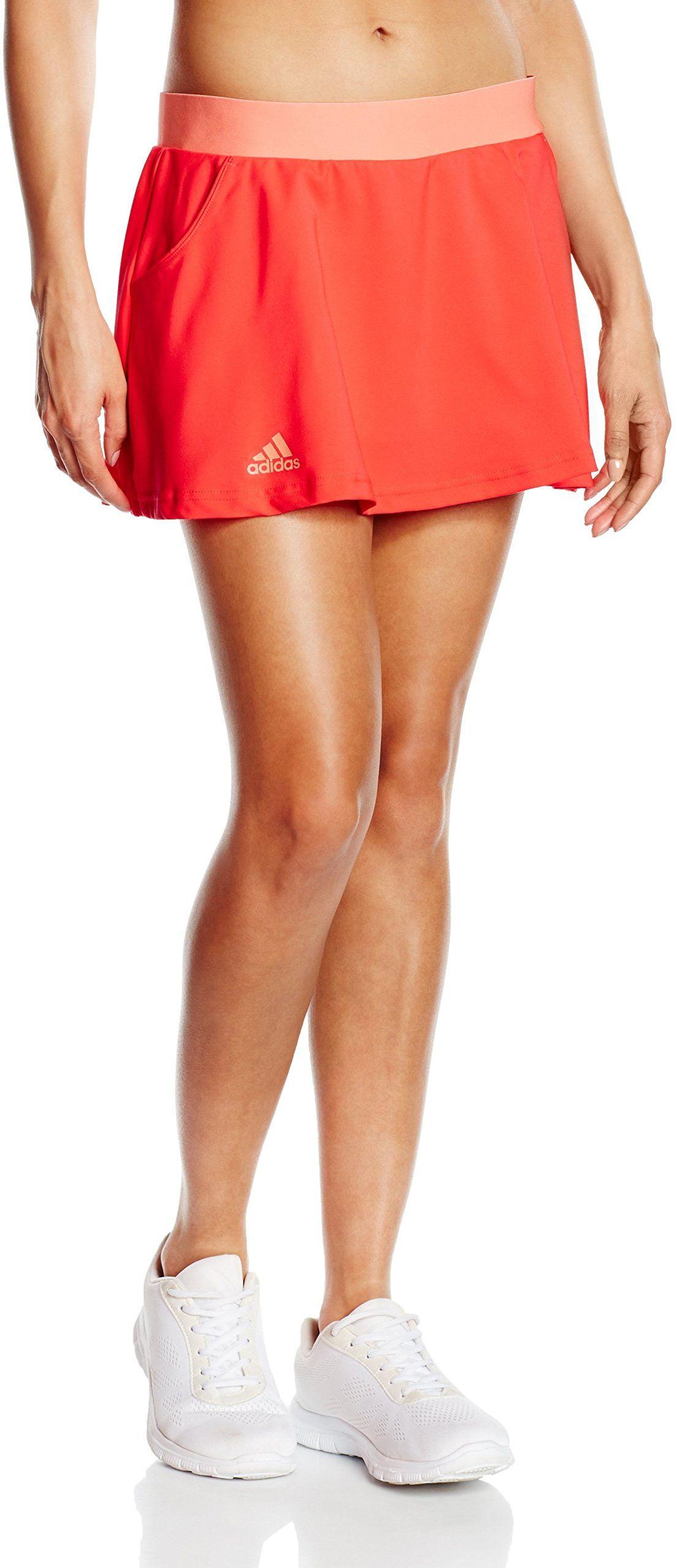 Adidas damska koszulka sportowa klubu długa spódniczka - czerwona/pomarańczowa/romby/BRISOL, duża