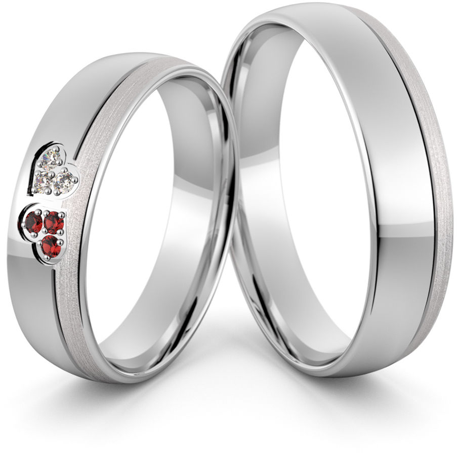 Obrączki srebrne z sercami cyrkoniami i rubinami - wzór Ag-427