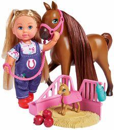 Simba 105733487 Evi Love Doctor Evi Horse Mama / Evi jako weterynaryjny / z dyskomfortem koń i źrebięciem / z miejscem do spania i akcesoriami, lalka do przebierania się, 12 cm dla dzieci od 3 lat
