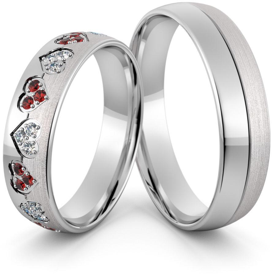 Obrączki srebrne z sercami cyrkoniami i rubinami - wzór Ag-414