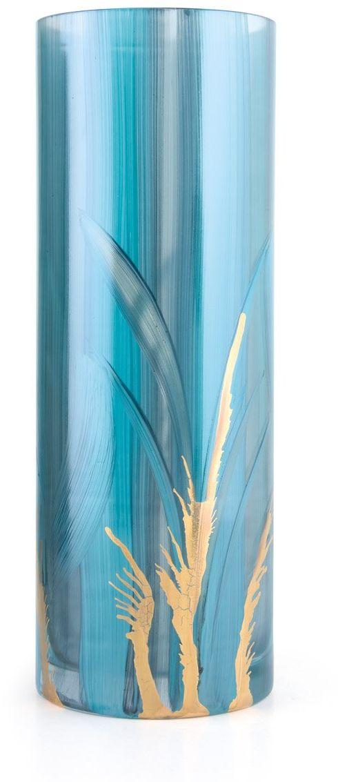 Angela neue Wiener Werkstaette Wazon cylindryczny Elegance ciężki wazon szklany uszlachetniony cylindryczny, szkło, turkusowy, wys. = 24 cm, d = 11 cm