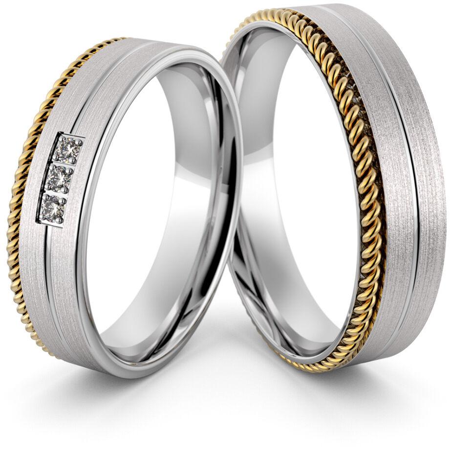 Obrączki srebrne ze złotym warkoczem i cyrkoniami - wzór Ag-429