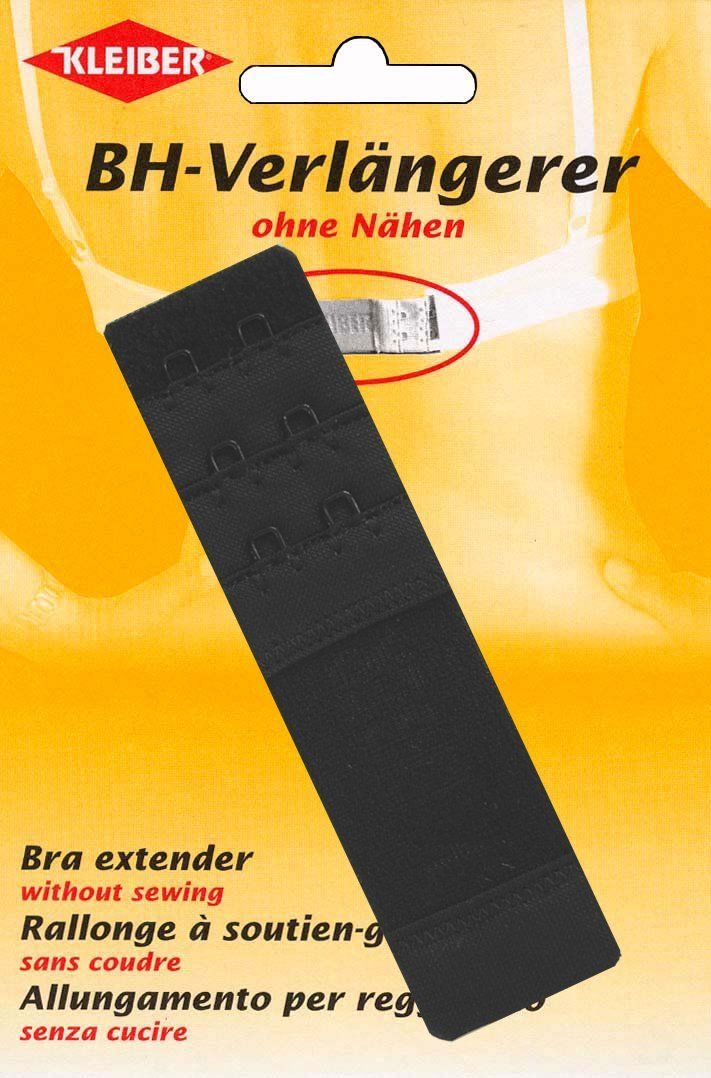 Kleiber biustonosz przedłużacz do 5 cm - czarny - 35 mm - podwójny hak