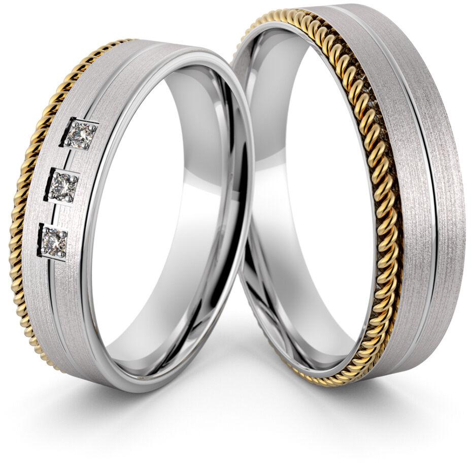 Obrączki srebrne ze złotym warkoczem i cyrkoniami - wzór Ag-430