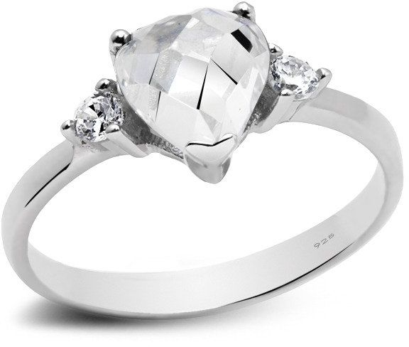 Srebrny Pierścionek Białe Diamentowe Serduszko