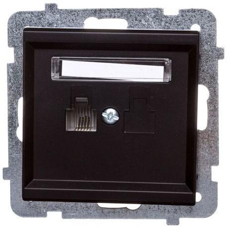 SONATA Gniazdo telefoniczne pojedyncze RJ11 czarny metalik GPT-1R/m/33