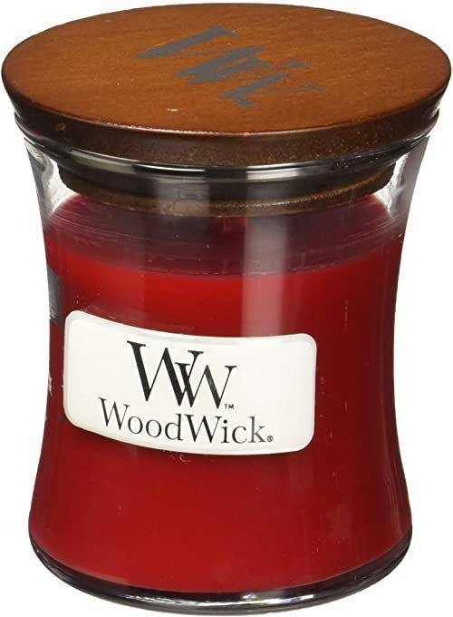 WoodWick Mini świeca granat, czerwona, 6,9 x 6,8 x 7,8 cm