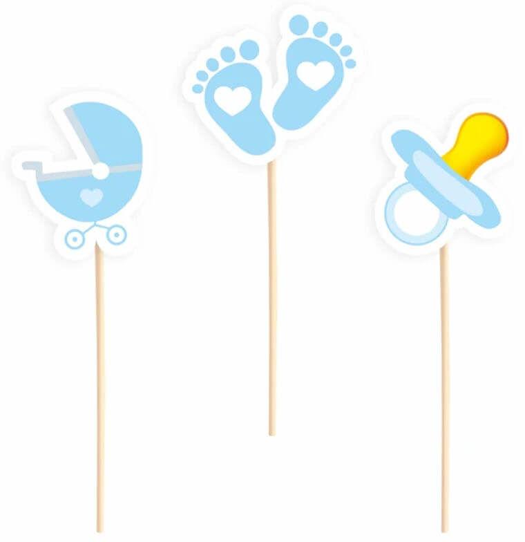 Pikery na Baby Shower niebieskie - 6 szt.