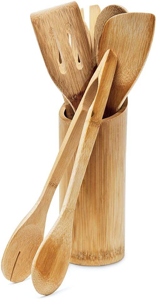 Relaxdays 7-częściowy zestaw bambusowych przyborów kuchennych, kawałki o długości około 30 cm, zawiera szpatułkę, łyżkę, widelec, szczypce do sałatek, uchwyt, naturalny brąz