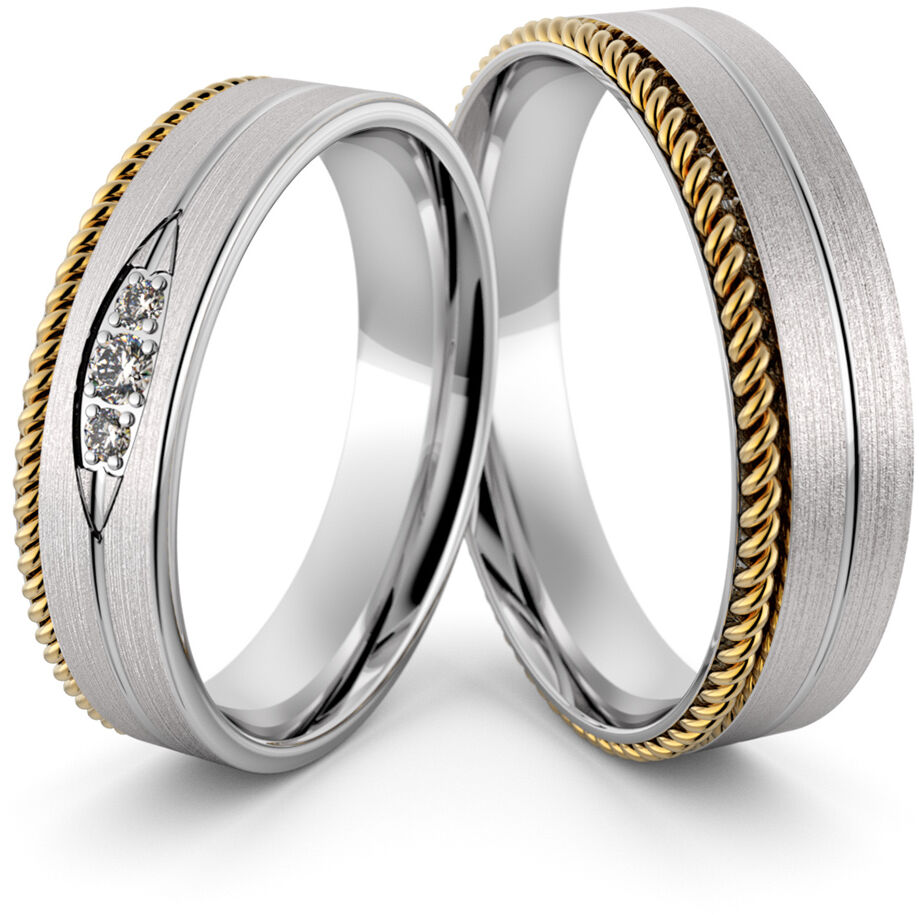 Obrączki srebrne ze złotym warkoczem i cyrkoniami - wzór Ag-431