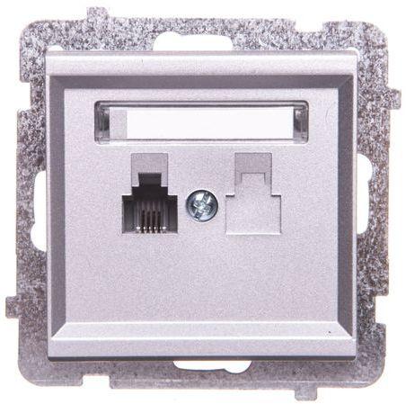SONATA Gniazdo telefoniczne pojedyncze RJ11 srebro mat GPT-1R/m/38