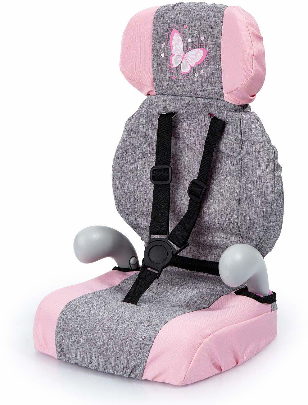 Bayer Design 67533AA Deluxe fotelik samochodowy dla lalek, z paskiem, szary, wygląd dżinsów, różowy z motylem