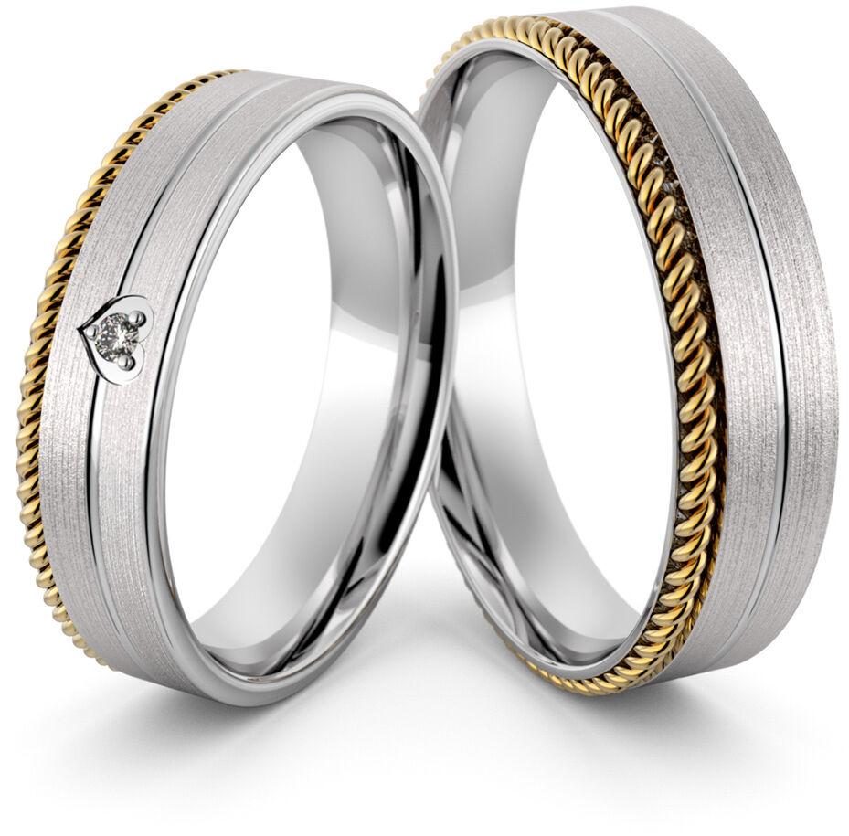 Obrączki srebrne ze złotym warkoczem i sercem - wzór Ag-432