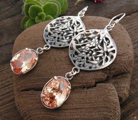 Lanzi - srebrne kolczyki z topazem złocistym