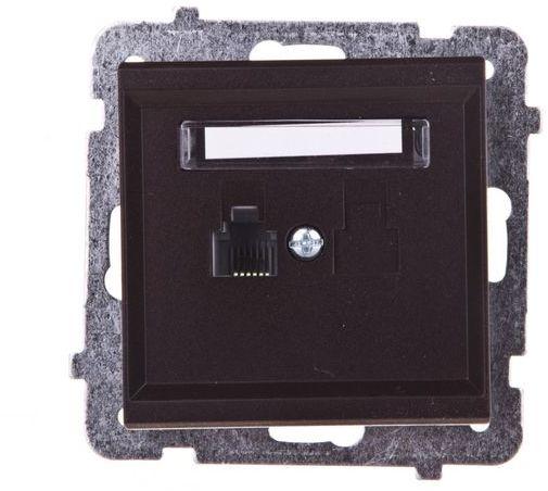 SONATA Gniazdo telefoniczne pojedyncze RJ11 czekoladowy metalik GPT-1R/m/40