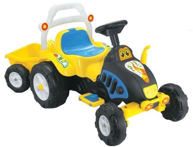 Duży świecący traktor na akumulator z przyczepą / XR-0905