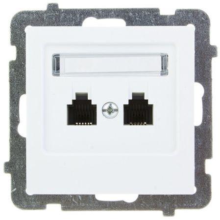 AS Gniazdo telefoniczne podwójne RJ11 niezależne białe GPT-2GN/m/00