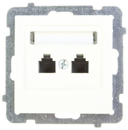 AS Gniazdo telefoniczne podwójne RJ11 niezależne ecru GPT-2GN/m/27