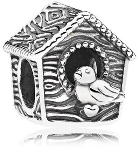 Rodowany srebrny charms do pandora ptaszek ptak bird domek budka dla ptaków srebro 925 QS0798