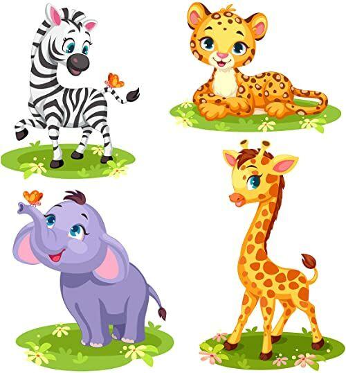 EmmiJules Tatuaż ścienny do pokoju dziecięcego Afryka zwierzęta zestaw 4 szt.  dostępny w różnych rozmiarach  Made in Germany  słoń, żyrafa, tygrys, zebra, motyle, zwierzęta, naklejka (średnia)