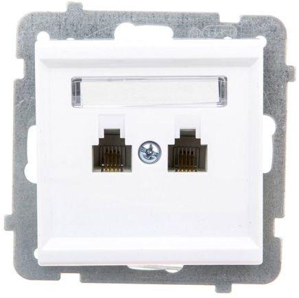 SONATA Gniazdo telefoniczne podwójne RJ11 niezależne białe GPT-2RN/m/00