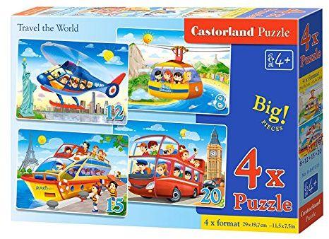 Castorland B-041015-2 Travel The World, 4 x puzzle (8+12+15+20)