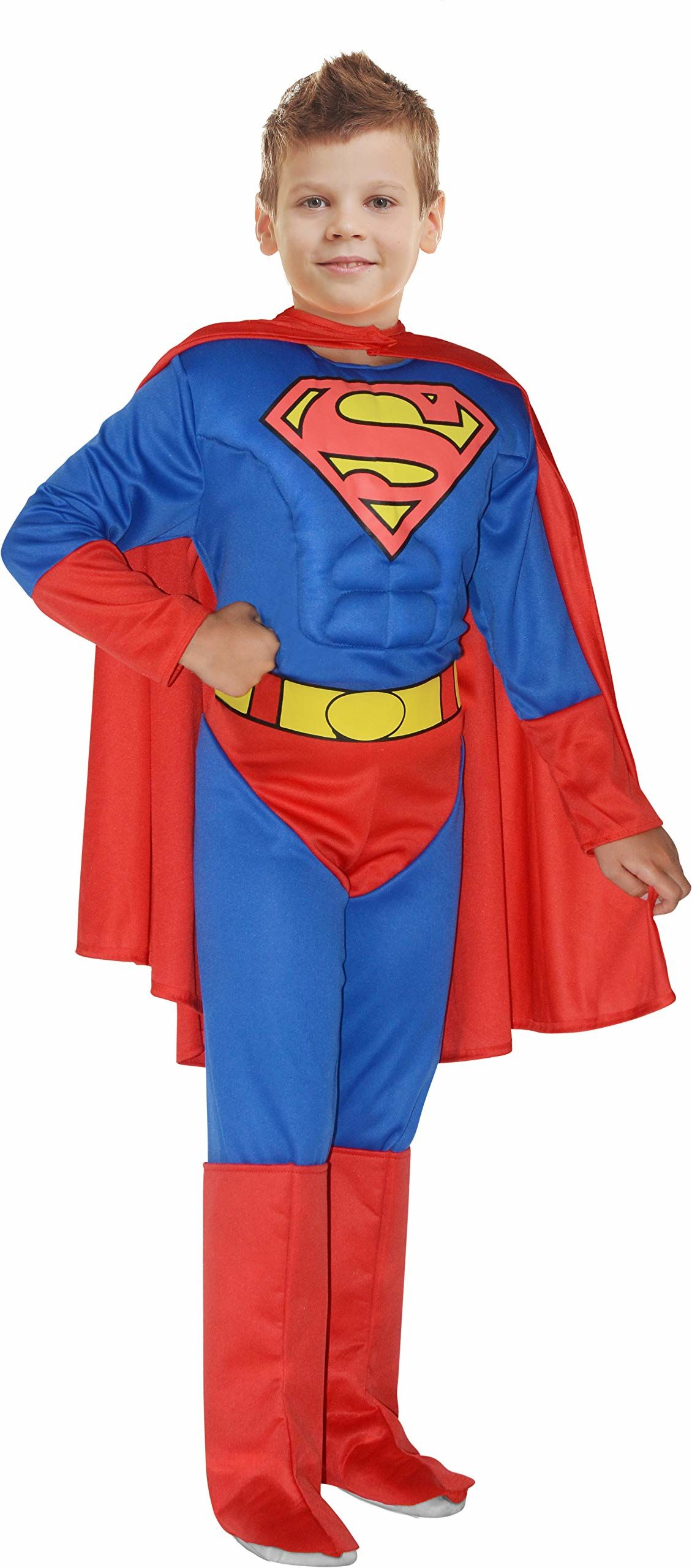 Ciao-Superman Original DC Comics kostium dziecięcy (rozmiar 10  12 lat) z wyściełaną muskulaturą piersiową, kolor niebieski/czerwony, 11699.10  12
