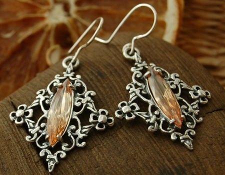 Junga - srebrne kolczyki z topazem złocistym