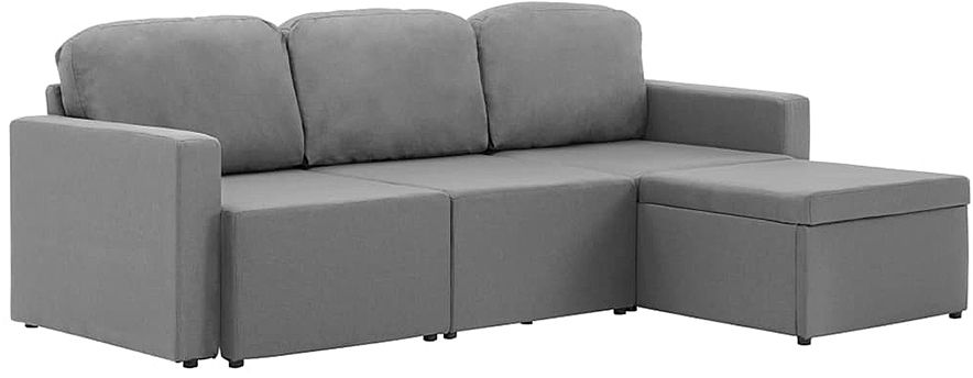 Rozkładana sofa modułowa jasnoszara tkanina - Lanpara 4Q