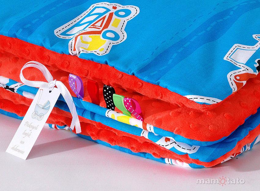 MAMO-TATO Komplet kocyk Minky do wózka + poduszka Auta niebieskie / czerwony - ocieplony WYPRZEDAŻ