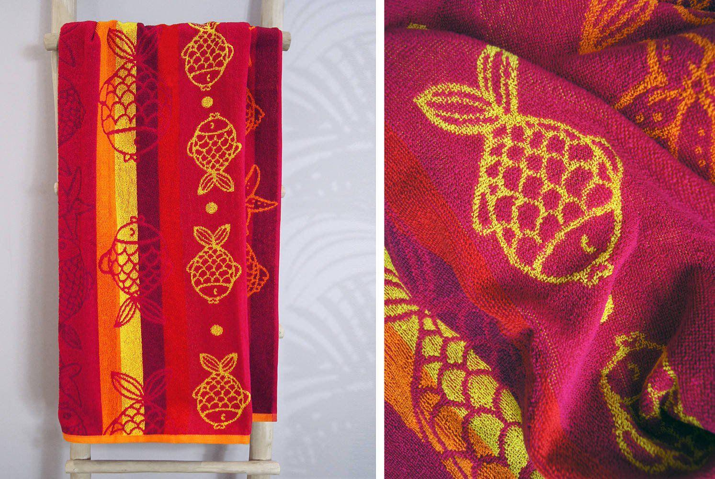 Ręcznik plażowy Greno Rybki Różowy