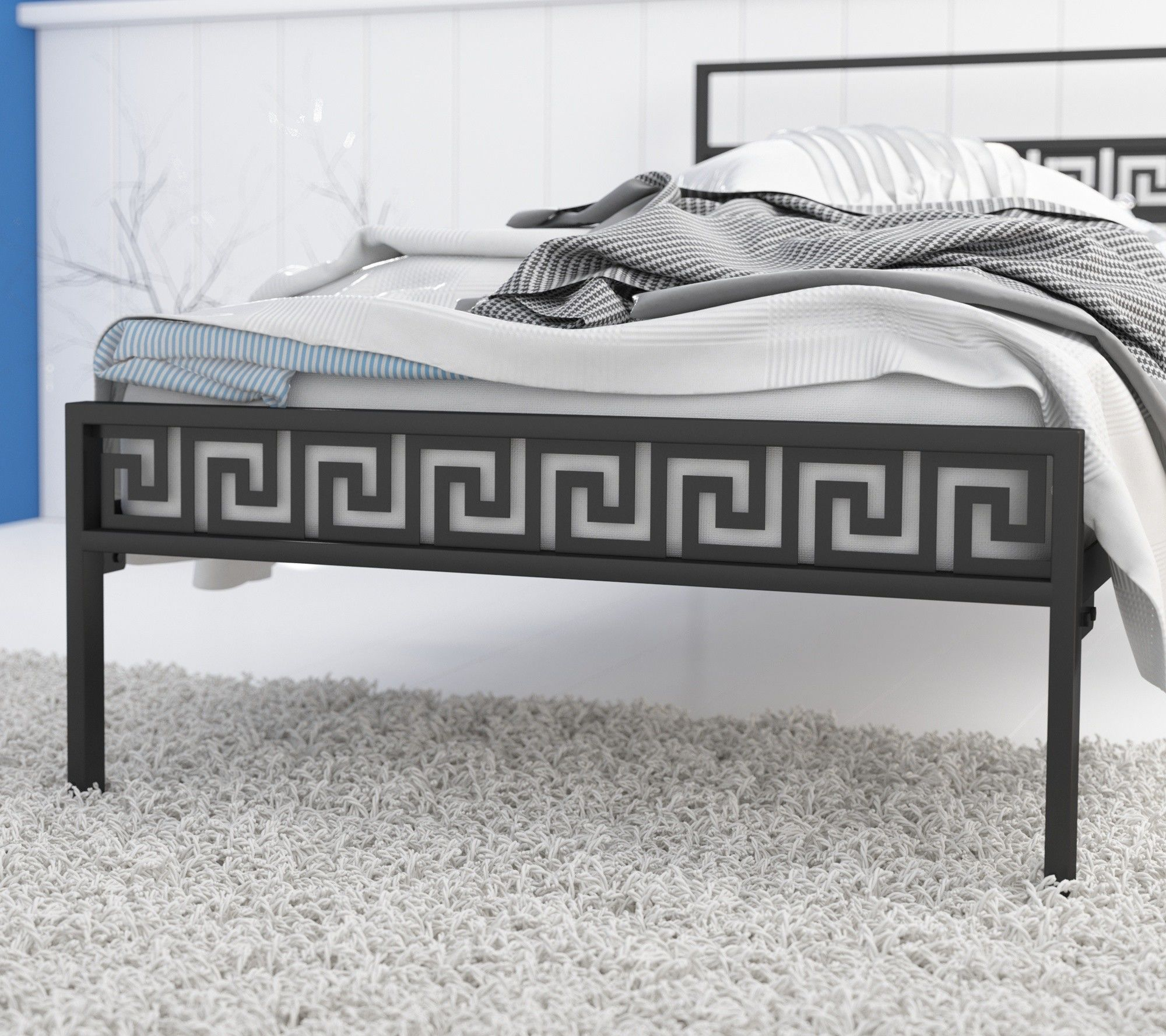 Łóżko metalowe 90x180 wzór 9 ze stelażem