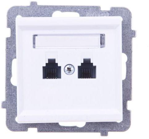 SONATA Gniazdo telefoniczne podwójne RJ11 równoległe białe GPT-2RR/m/00