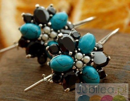 Irydium - srebrne kolczyki perły turkusy onyksy