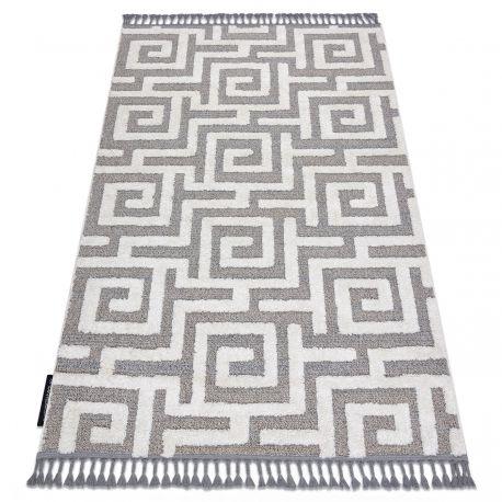 Dywan MAROC P655 Labirynt, grecki szary / biały Frędzle berberyjski marokański shaggy 80x150 cm
