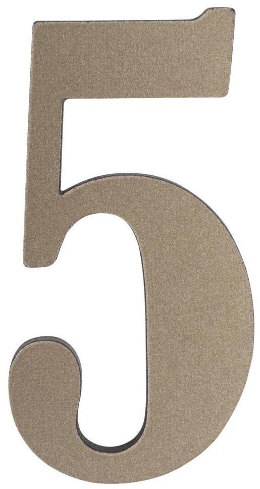 Cyfra 5 wys. 5 cm PVC srebrna