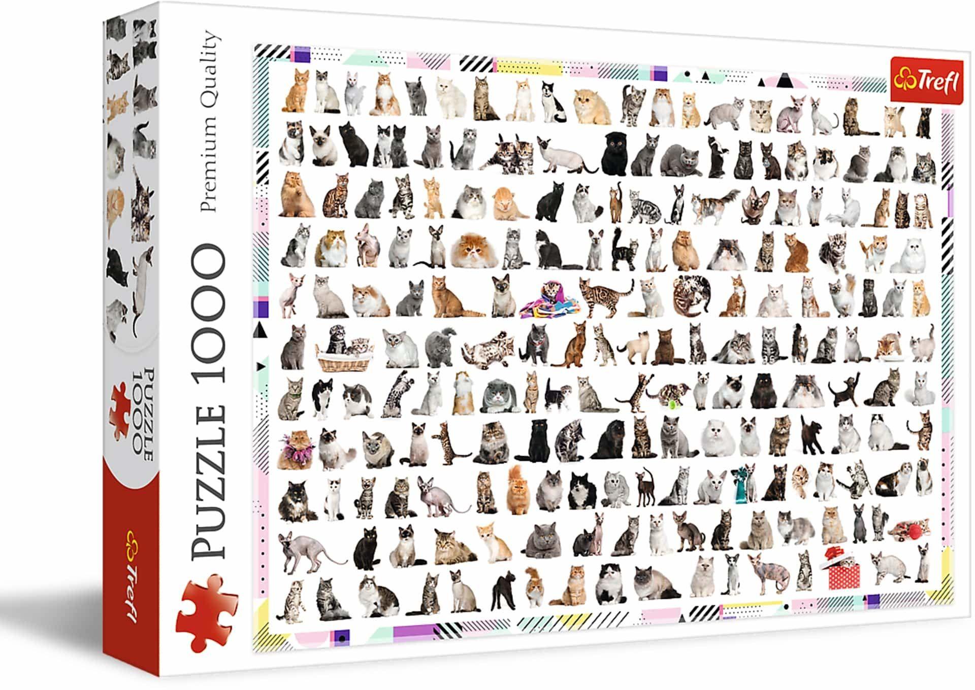 Trefl 208 Kotów Puzzle 1000 Elementów o Wysokiej Jakości Nadruku dla Dorosłych i Dzieci od 12 lat