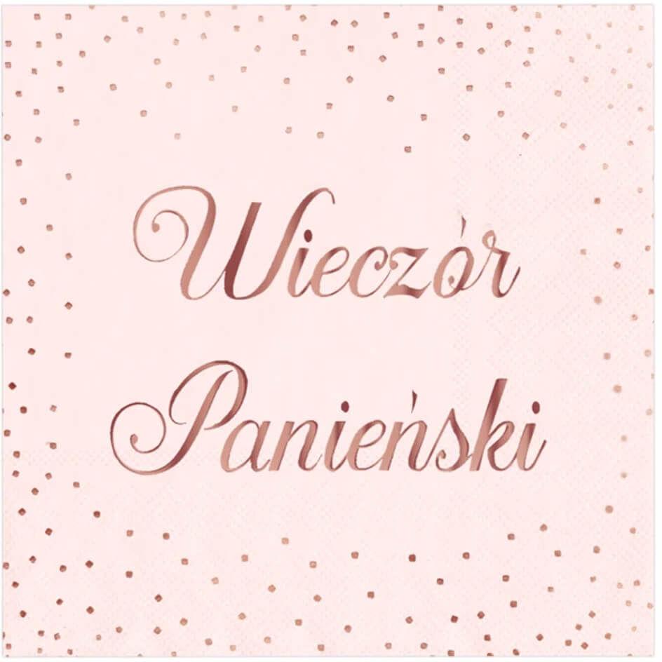 Serwetki różowe z napisem Wieczór Panieński - 33 cm - 10 szt.