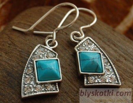 Avenida - srebrne kolczyki z turkusem i kryształkami