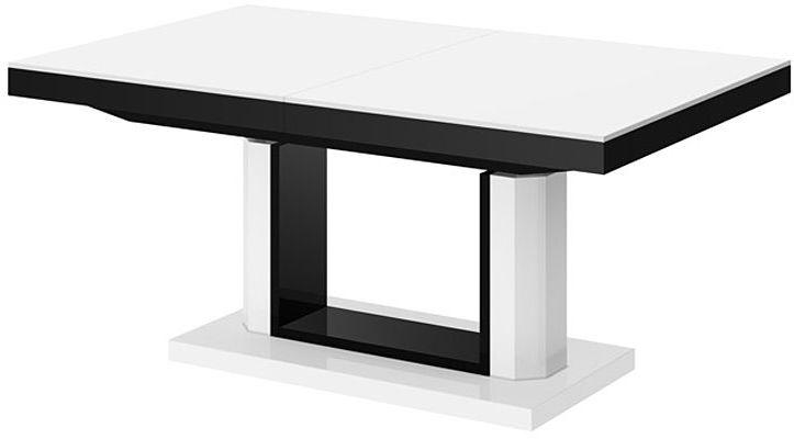 Rozkładany ławostół biało czarny połysk - Havier 3X