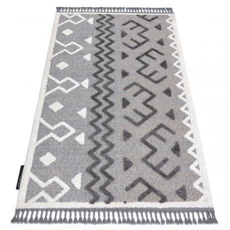 Dywan MAROC P659 Aztec, etno szary Frędzle berberyjski marokański shaggy 80x150 cm