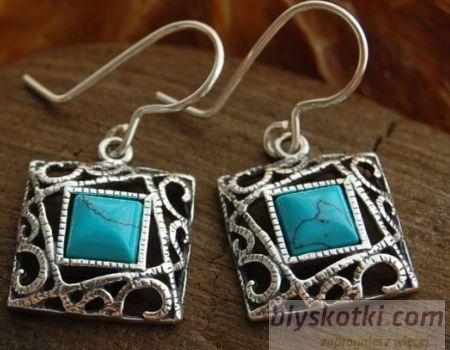 Laruna - srebrne kolczyki z turkusem