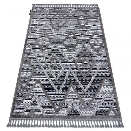 Dywan MAROC P657 Romby Zygzak, etno czarny / szary Frędzle berberyjski marokański shaggy 80x150 cm