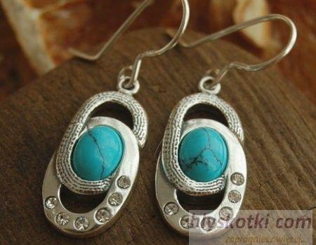 Sardynia - srebrne kolczyki z turkusem i kryształkami