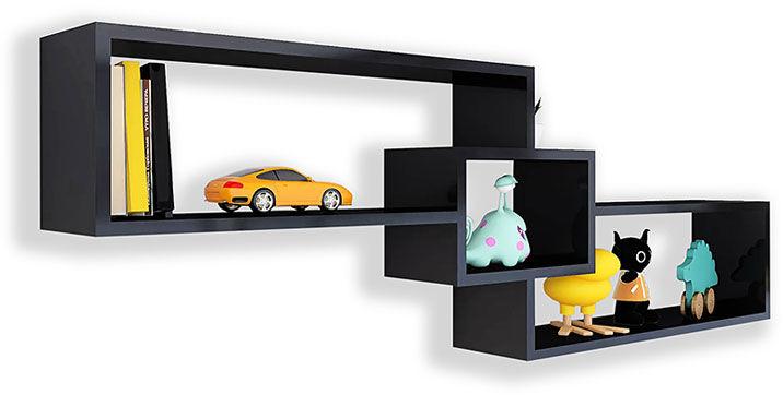 Czarna minimalistyczna półka wisząca - Ramona