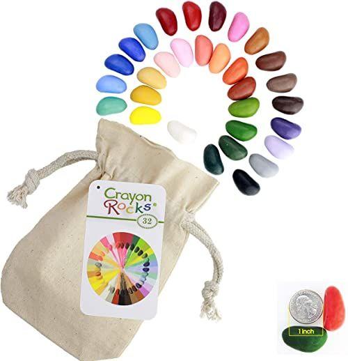 Crayon rocks - Nietrujące pisaki woskowe Soya dla dzieci [pobudzające uchwyt pisaka]  trwała kreda w muślinowej torbie  32 naturalne kolory  do rysowania na papierze i tkaninie