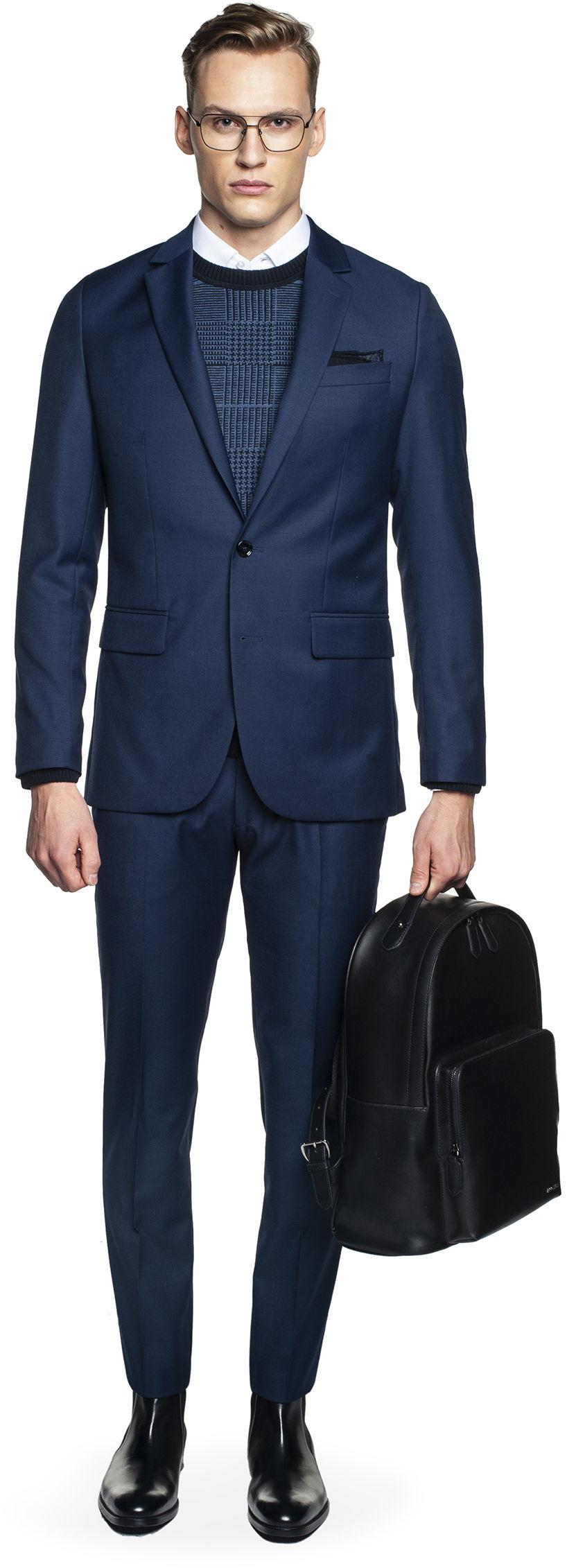 garnitur baruni 315 niebieski slim fit