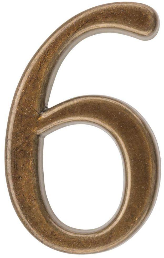 Cyfra 6/9 wys. 5 cm metalowa brązowa